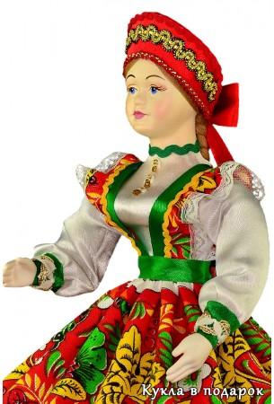 Русский стиль шкатулка кукла с фарфоровой головой и руками