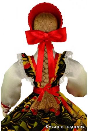 Подарок ручной работы шкатулка кукла с бантом и косой