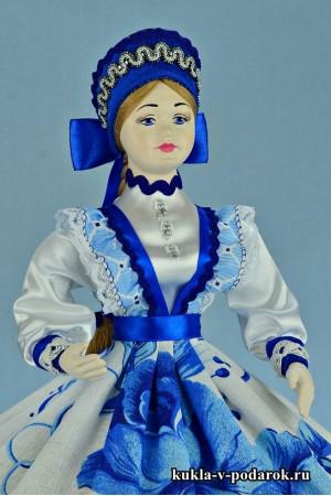 Фото кукла шкатулка ручной работы в стиле Гжель