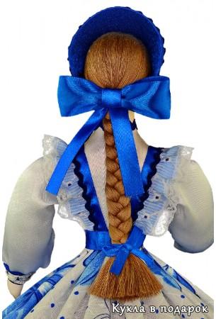 Необычная шкатулка кукла с косой и бантом