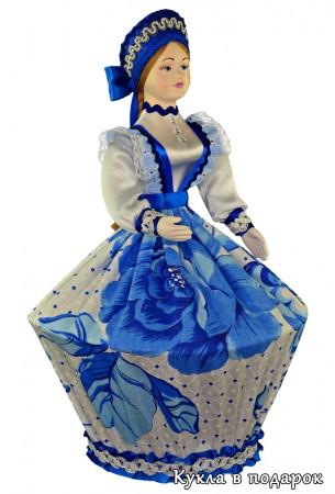 Шкатулка кукла ручная работа в стиле Гжель