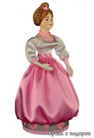 Красивая шкатулка кукла в розовом платье