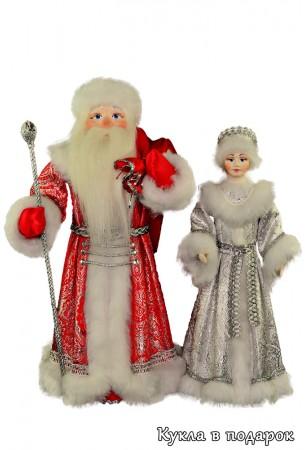 Красивые новогодние куклы Дед Мороз и Снегурочка