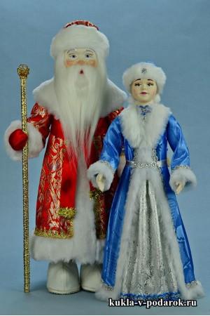 Новогодний подарок куклы ручной работы Дед Мороз и Снегурочка
