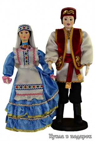 Текстильная кукла в красивом голубом платье