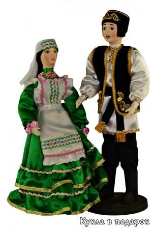 Татарка в зеленом платье и татарин Текстильные куклы