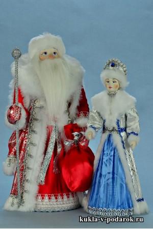 фото хенд мейд куклы на Новый год Дед Мороз и Снегурочка