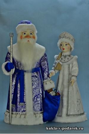 Дед Мороз в синем с серебром, Снегурочка в белом