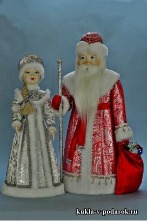 Куклы ручной работы русские Дед Мороз и Снегурочка