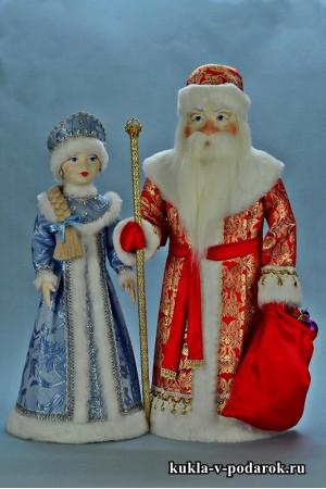 Набор кукол ручной работы Дед Мороз и Снегурочка