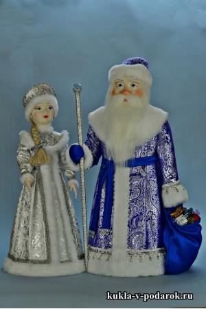 Куклы ручной работы подарок на Новый год Дед Мороз и Снегурочка