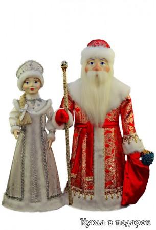 Куклы ручной работы новогодний подарок Дед Мороз и Снегурочка