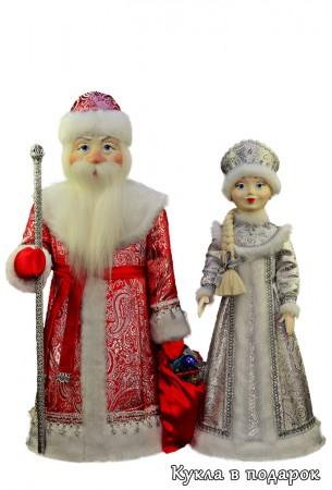 Дед Мороз в красном с серебром, Снегурочка в серебристом