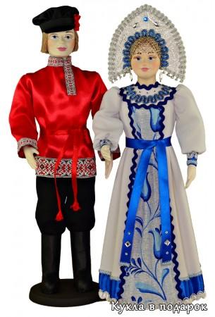 Пара авторских кукол в русских нарядах
