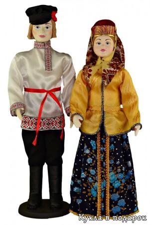 Вологодские мужчина и женщина народные куклы