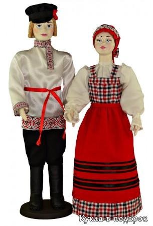 Кукла из текстиля с фарфоровой головой в народной одежде