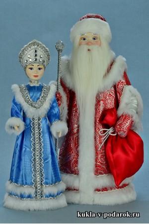 Новогодние сувениры авторские куклы красный Дед Мороз