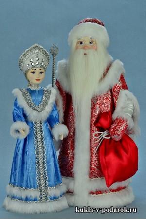Новогодние сувениры хенд мейд куклы Дед Мороз и Снегурочка