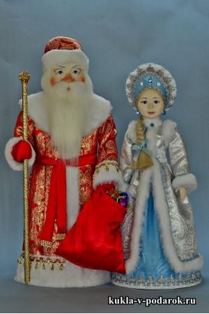 Куклы Дед Мороз в красном с золотом и Снегурочка