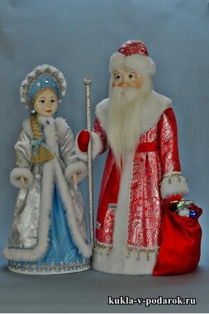 Подарки на Новый год куклы в русском стиле Дед Мороз и Снегурочка