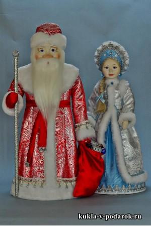 Куклы Дед Мороз в красном с серебром и Снегурочка