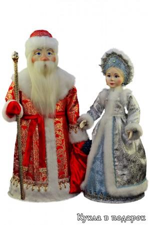 Дед мороз с мешком подарков набор кукол на новый год