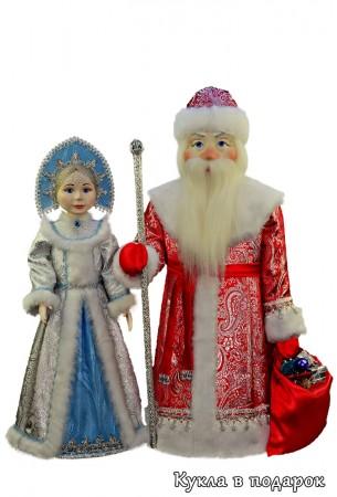 Большие елочные игрушки Дед Мороз и Снегурочка