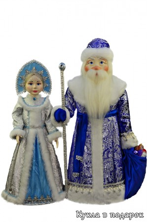 Красивые елочные игрушки Дед Мороз и Снегурочка