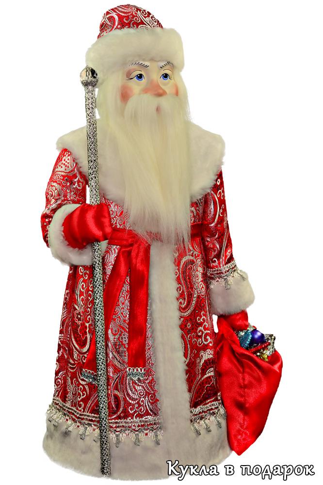 Кукла большой Дед Мороз в красной шубе