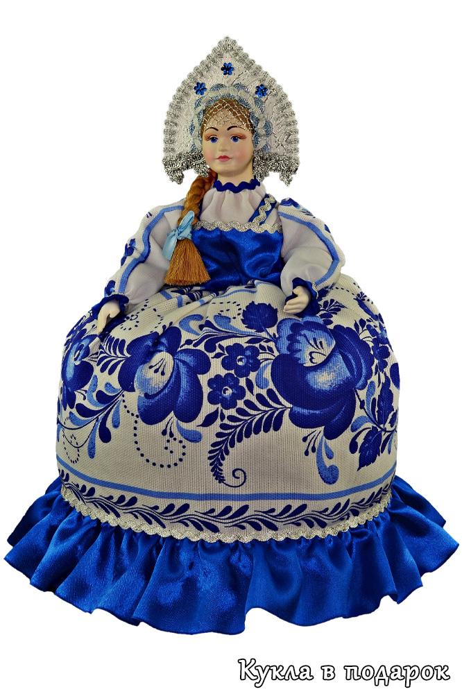 Корпоративный подарок кукла грелка в стиле Гжель
