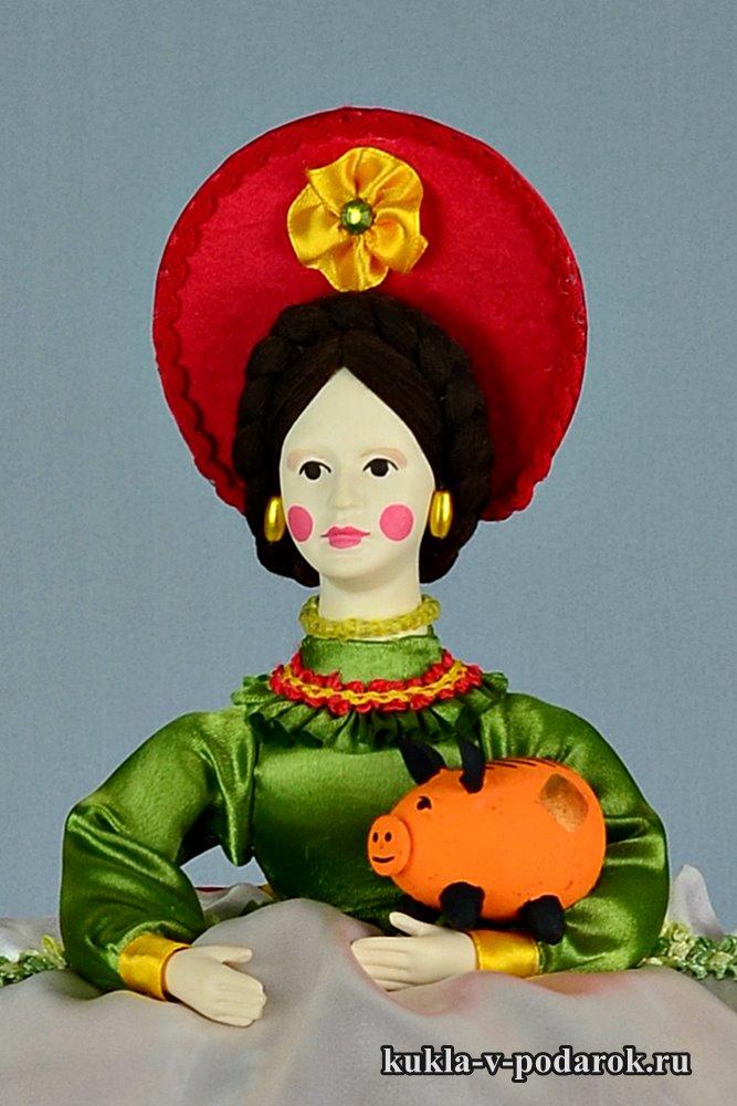 Дымковская Барыня кукла грелка на чайник
