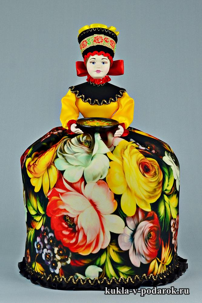 Кукла с жостовским чайным подносом