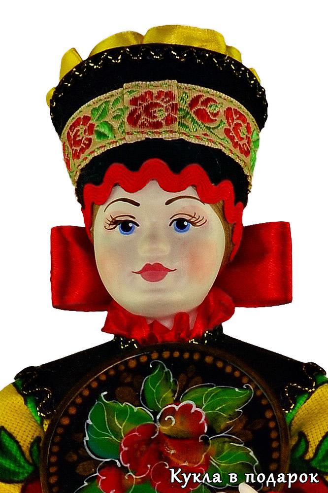 Подарок на кухню кукла с подносом из Жостово