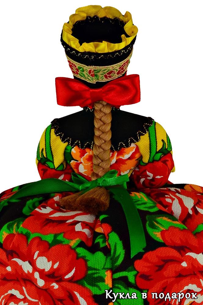 Кукла в стиле Жостово с красным бантом